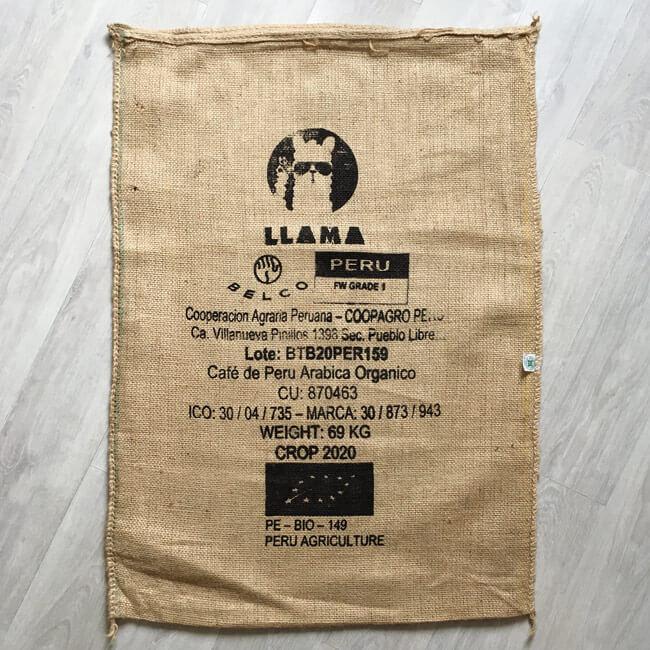 Sac toile de jute café Llama noir - avant