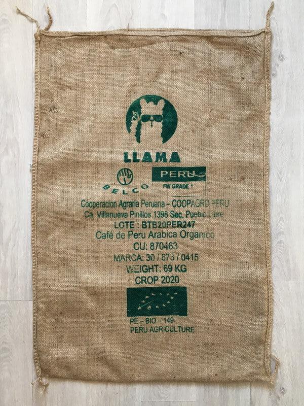 Sac toile de jute café Llama vert - avant