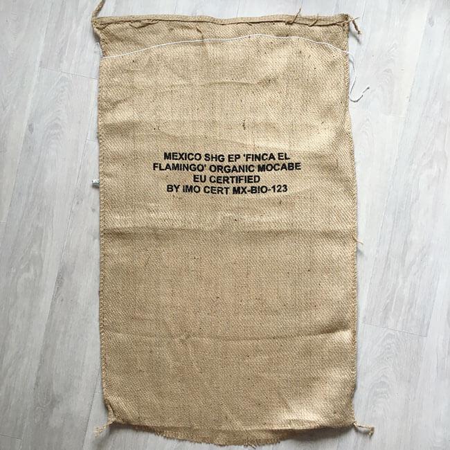 Makoha - sac en toile de jute café Finca Flamingo - arrière