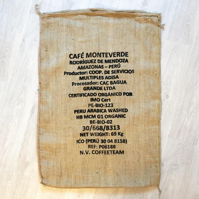 Makoha - sac en toile de jute café Monteverde - arrière