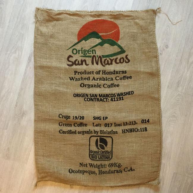 Sac toile de jute café San Marcos - face avant